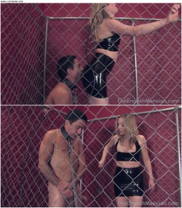 28.03.2016 – TheEnglishMansion – Mistress Sidonia – Electrified Steel Cage – cock and ball crush, ballkicking, torture, pain