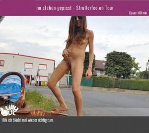 19.03.2016 – Im stehen gepisst – Strullerfee on Tour – public piss, solo, urine, wet