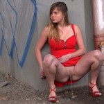 15.03.2016 – Lady In Red – extreme, public piss, urine, wet