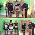 Release 30.03.2016 – TheEnglishMansion – Lady Nina Birch, Madam Helle – Punished Maids All In A Row Pt1 Complete – forced cross dressing, men wearing panties, depfile