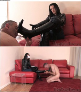 Release 30.03.2016 – FemmeFataleFilms – Governess Hunteress – Clean My Boots Complete – gloves, jacket, leather, leather gloves, depfile