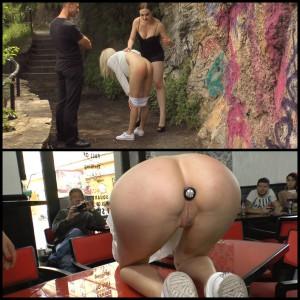 21.03.2016 – Beautiful Slut Melanie Services Public Disgrace HD, outdoor, bondage