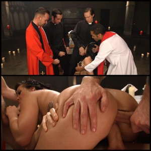 22.03.2016 – Ex hooker turns nun gets gangbanged by 5 priests! HD, BDSM, Humiliation, Torture