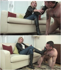 Release 06.04.2016 – FemmeFataleFilms – Mistress Akella – Dirty Doormat Slave Part 1 – boots, foot smother, foot worship, knee boots, depfile