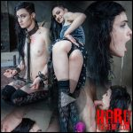 Alt beauty locked into the perfect slave position with hard metal, while two cock ravish her throat – Lydia Black – HD, choking, breath play (Release May 25, 2017)